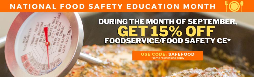 Get 15% off Food Safety CE!
