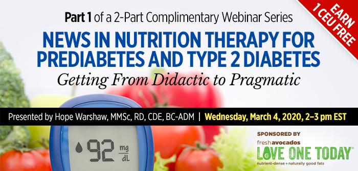 New in nutrition therapy for prediabetes and type 2 diabetes