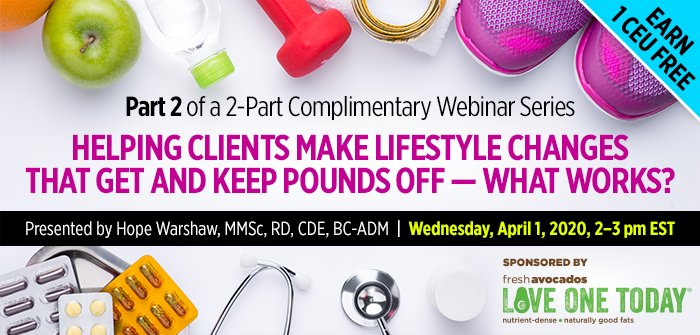 Webinar: helping clients make lifestyle changes that get and keep pounds off - what works?