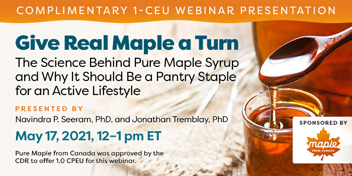 Free webinar on the health benefits of maple syrup