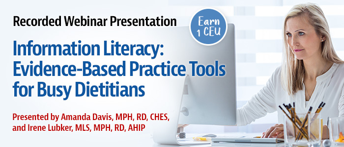 Recorded Webinar on Evidence-Based Practice Tools