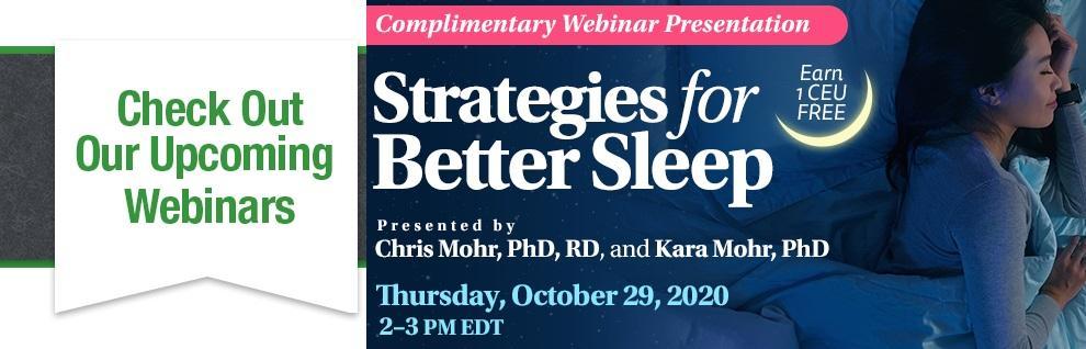 Free Webinar on Strategies to Get Better Sleep