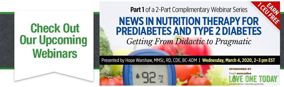upcoming webinar on nutrition therapy for pre-diabetes and type 2 diabetes